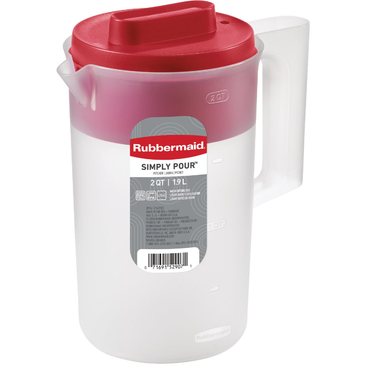 2.25QT RED LID PITCHER - 1777154 by Rubbermaid Home