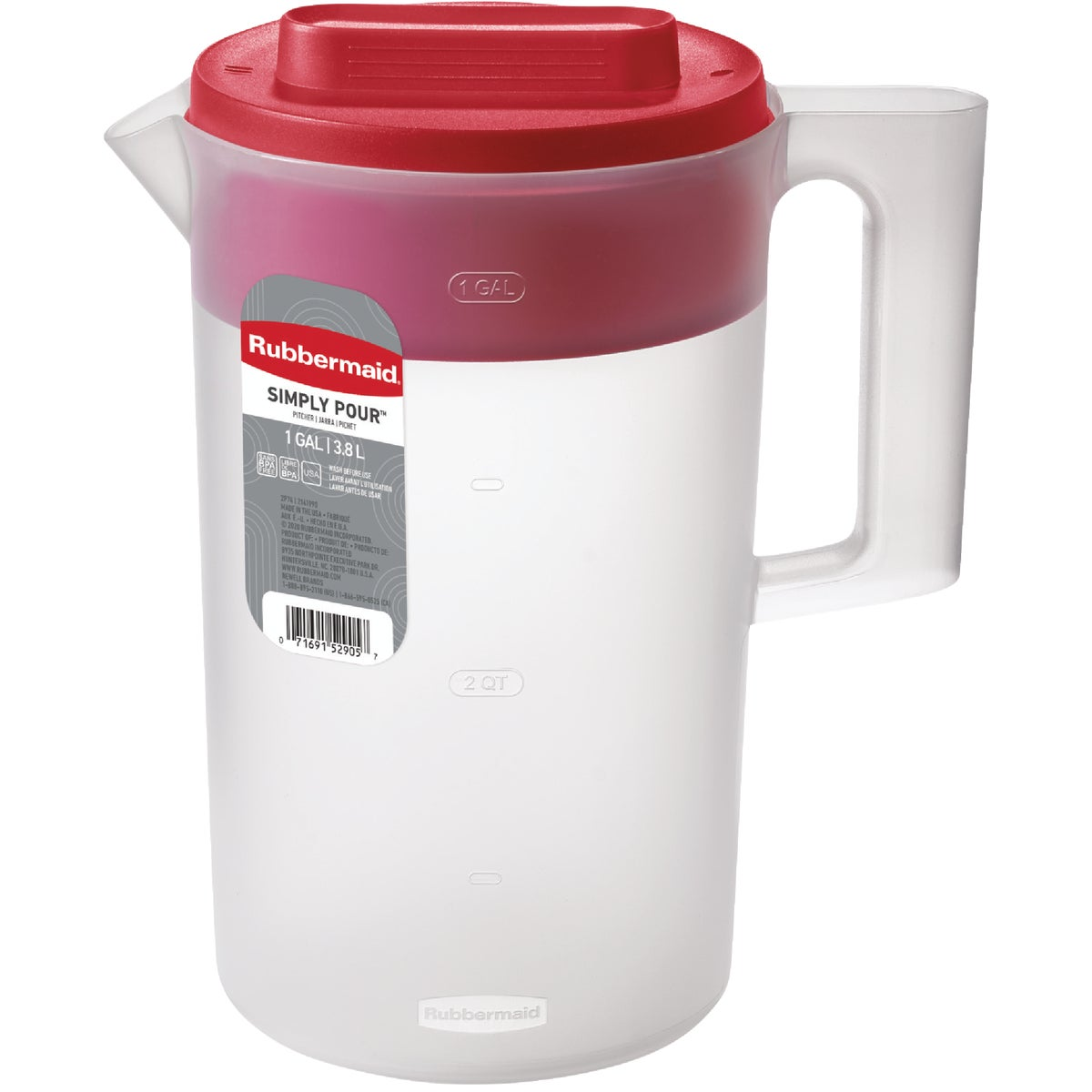 1GAL RED LID PITCHER - 1777155 by Rubbermaid Home