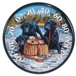Puppies Outdoor Wall Thermometer