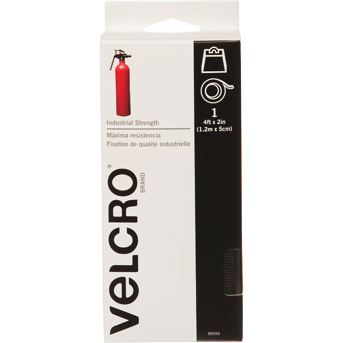 VELCRO Brand 2 In. x 4 Ft. Black Industrial Strength Hook & Loop Roll