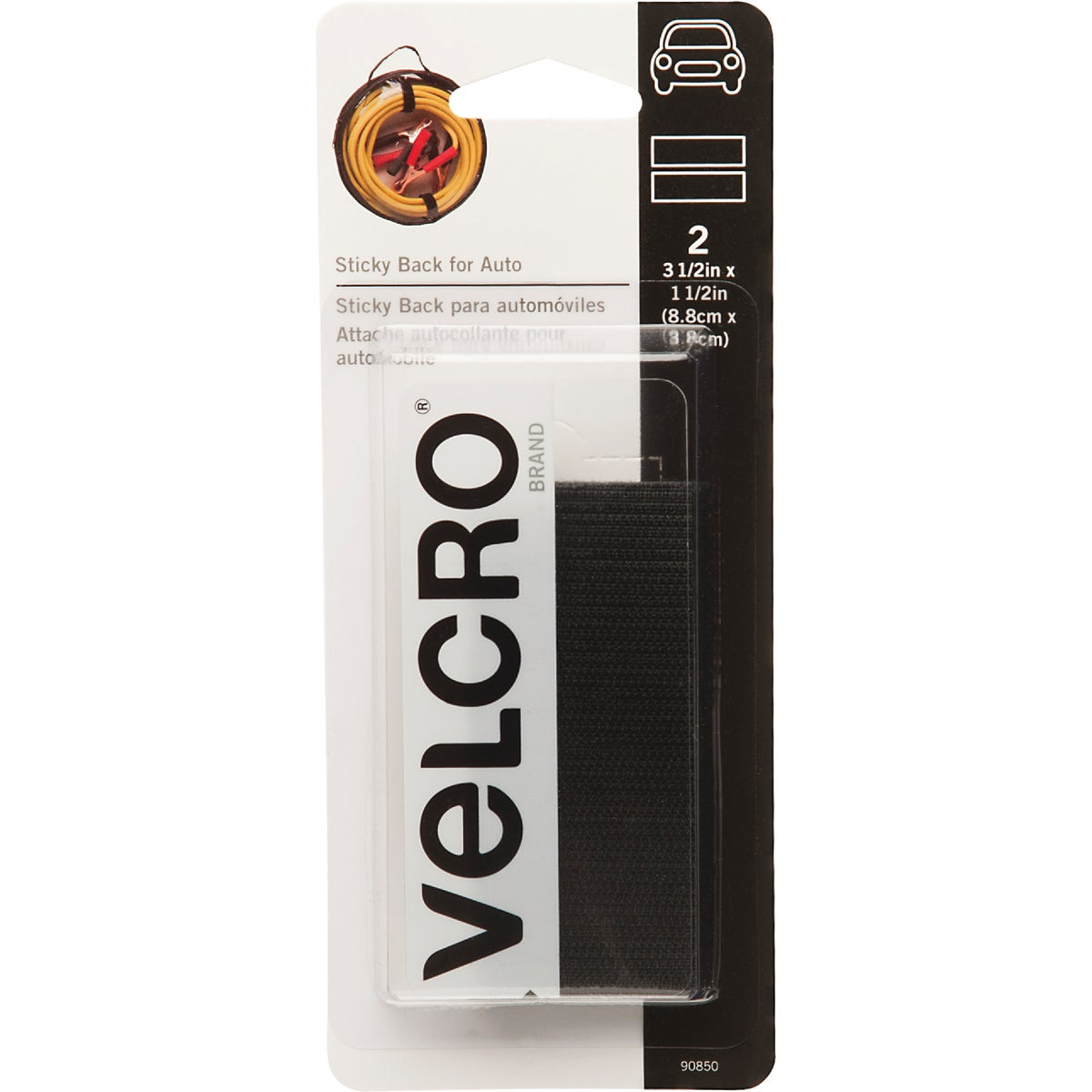 VELCRO Brand 1-1/2 In. x 3-1/2 In. Black Sticky Back For Auto Hook & Loop Strip (2 Ct.)