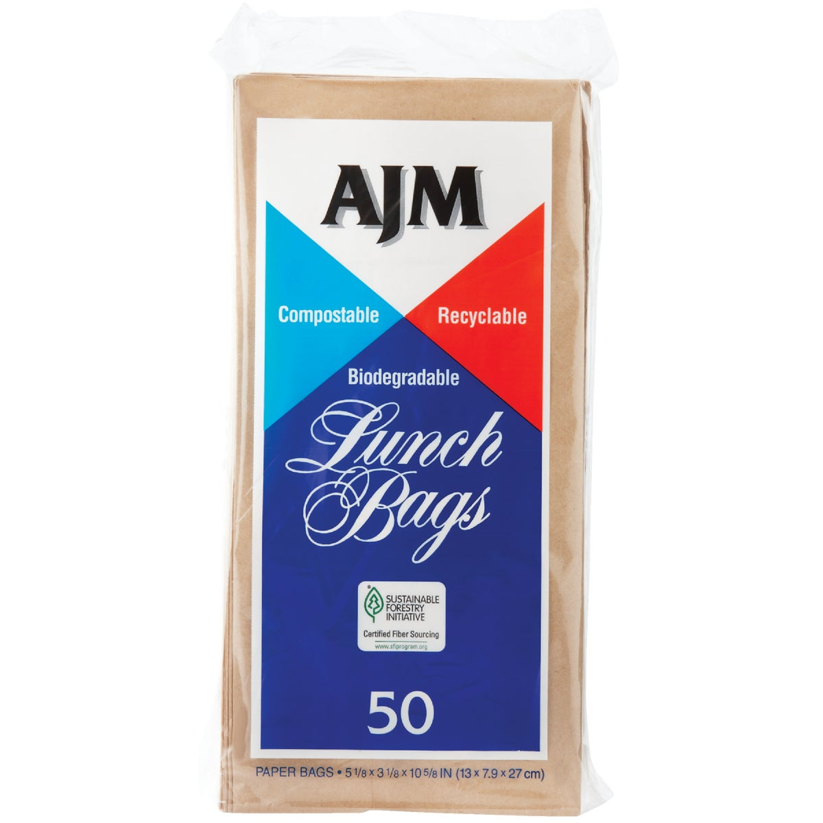 50CT PAPER LUNCH BAG - LB24LAJ by A J M Packaging Corp