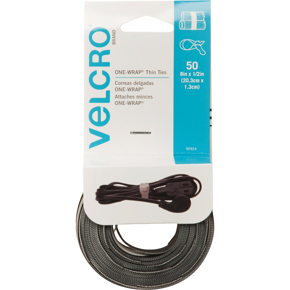50CT BLK REUSABLE TIES - 90924 by Velcro Usa