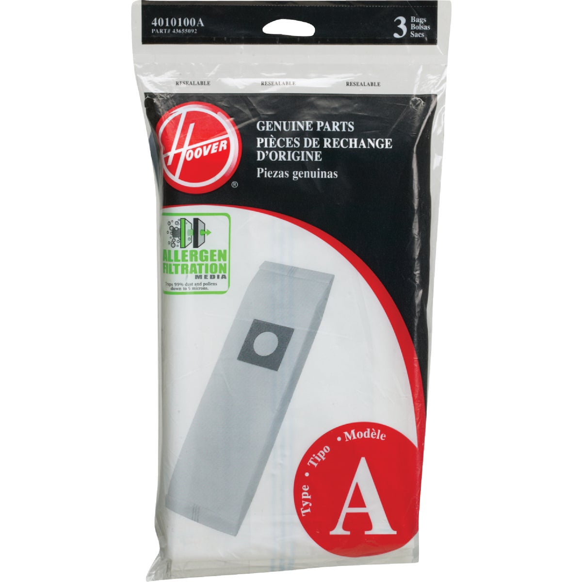 ALLERGEN VAC CLEANER BAG - 4010100A by Hoover Co