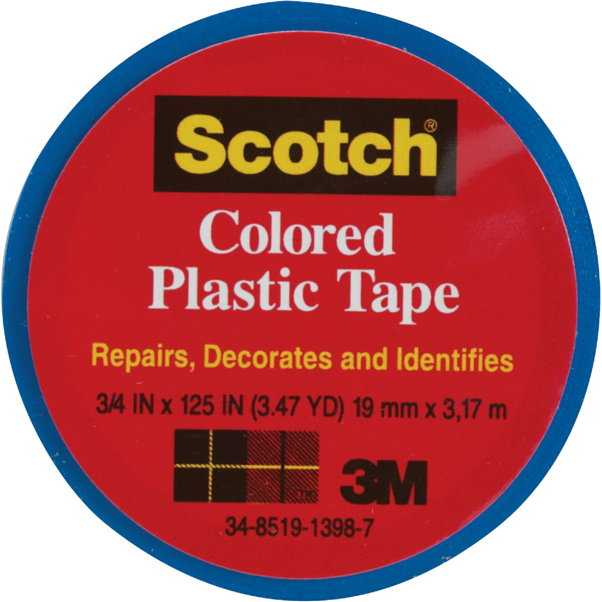 "SCOTCH 3/4""BLU PLST TAPE - 190 by 3m Co"