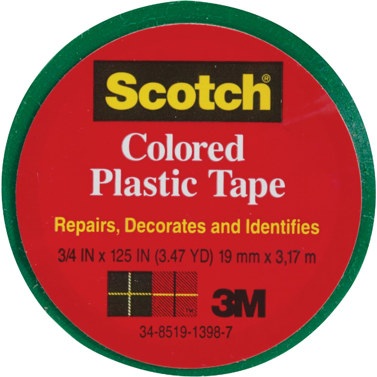 "SCOTCH 3/4""GRN PLST TAPE - 190 by 3m Co"