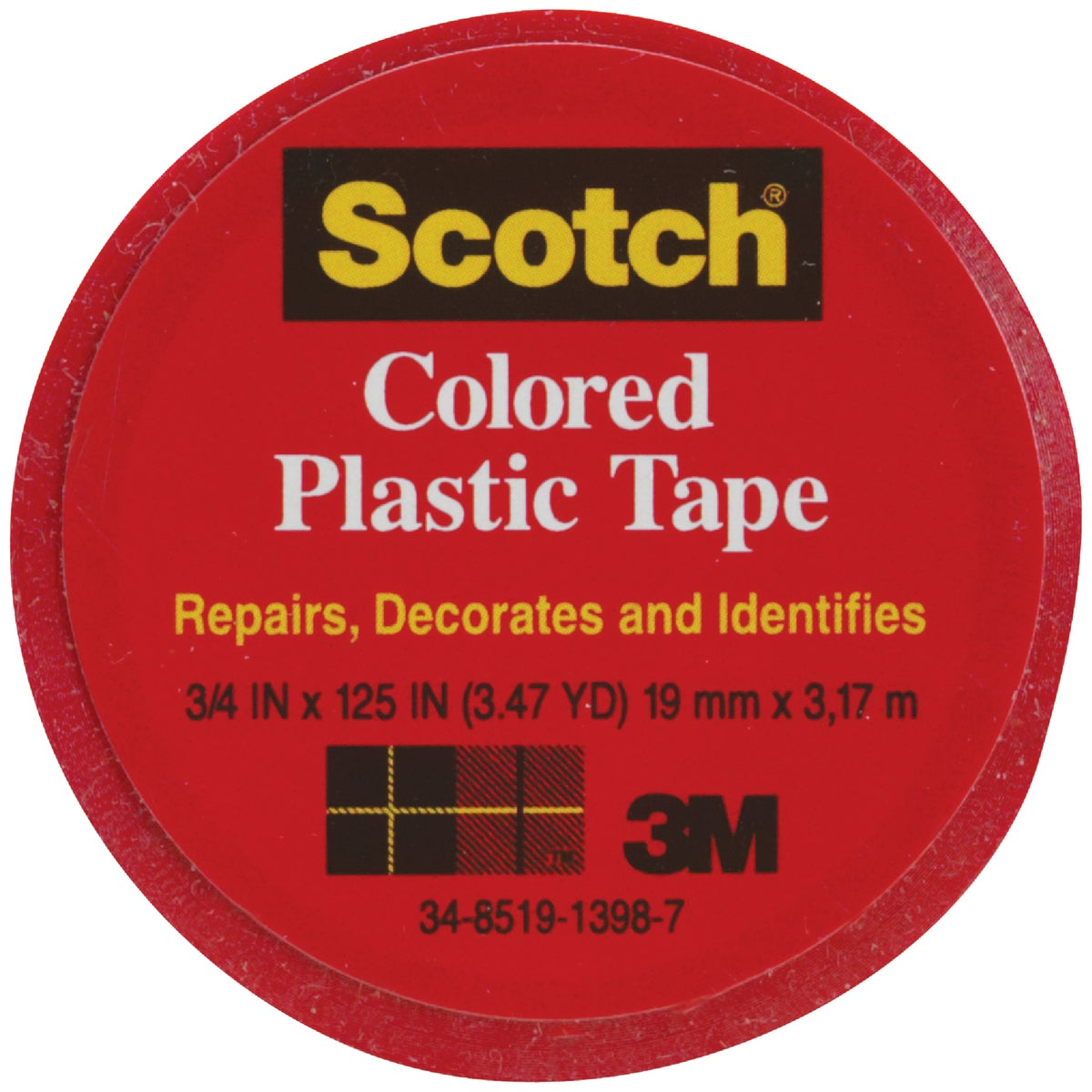 "SCOTCH 3/4""RED PLST TAPE - 190 by 3m Co"