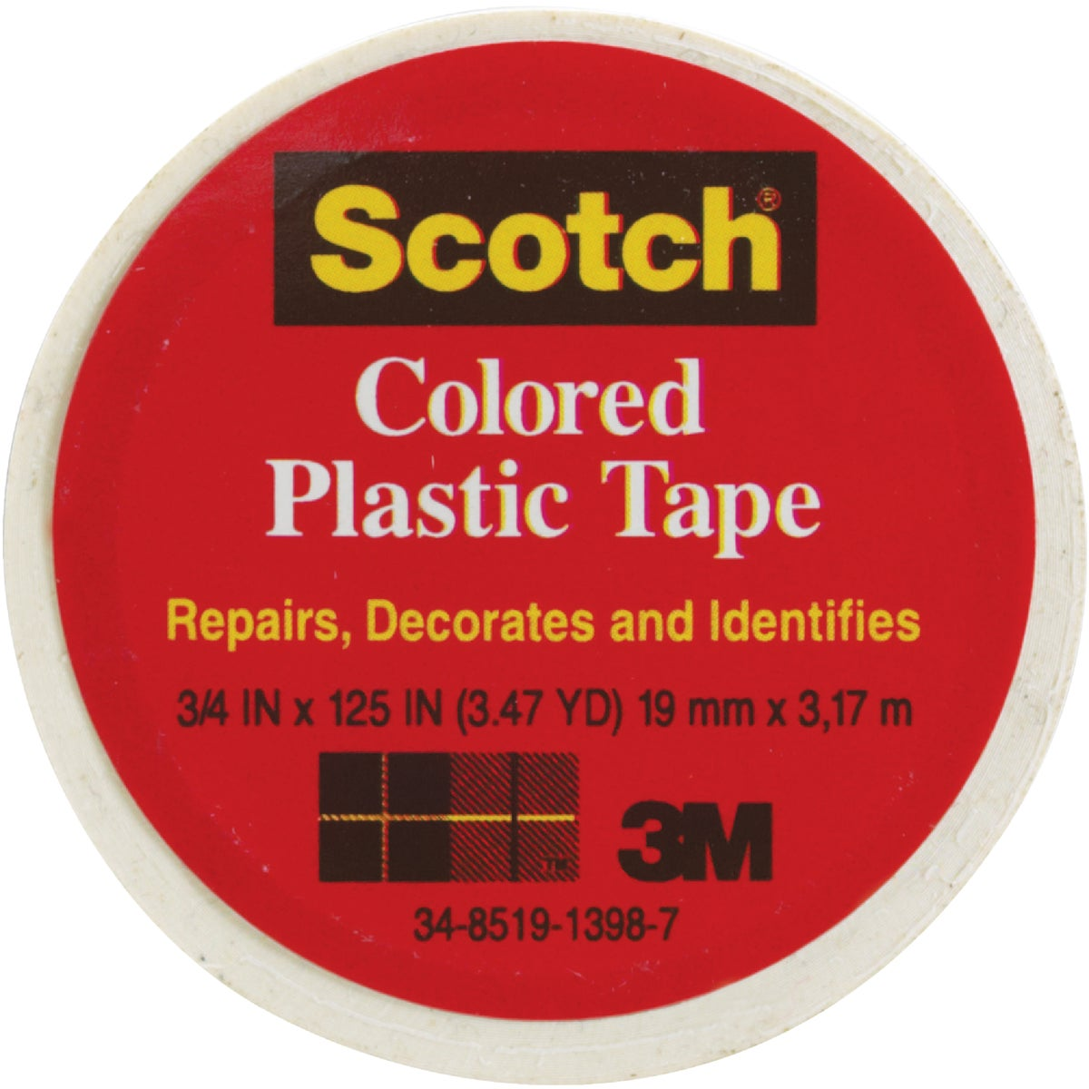 "SCOTCH 3/4""WHT PLST TAPE - 190 by 3m Co"