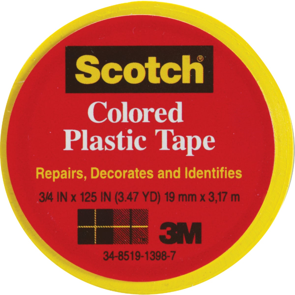 "SCOTCH 3/4""YLW PLST TAPE - 190 by 3m Co"