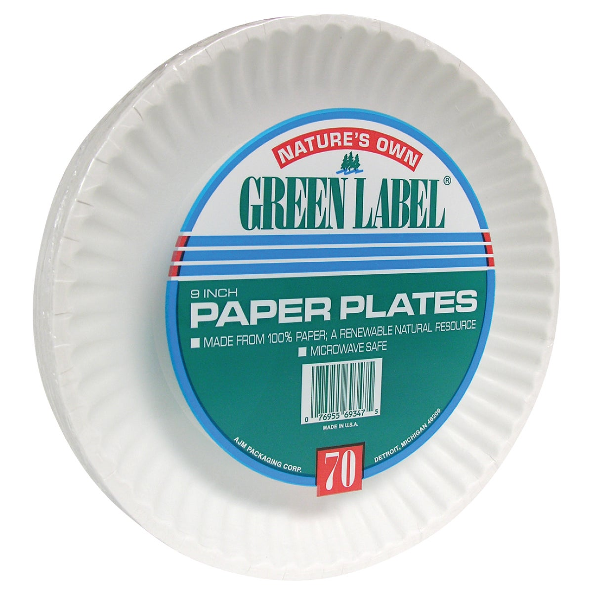 "70 COUNT 9"" PAPER PLATE - PP9GRAXWH by A J M Packaging Corp"