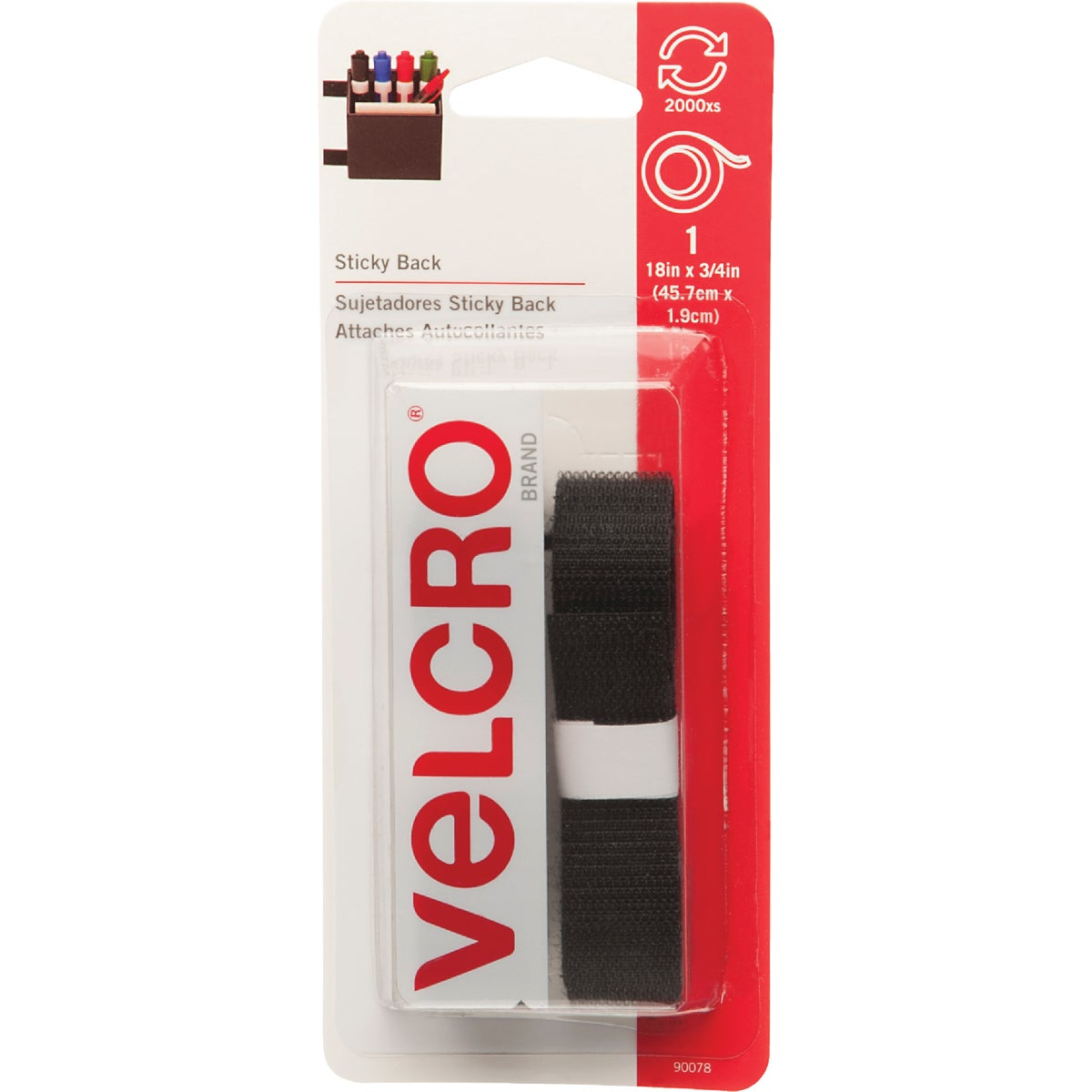 "18"" BLK ADHSIVE FASTENER - 90078 by Velcro Usa"