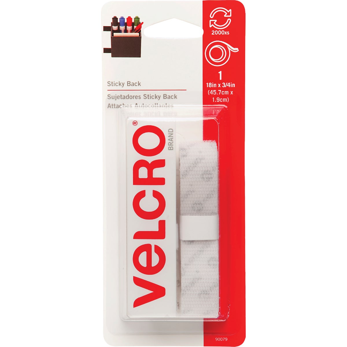 """18"""" WHT ADHSIVE FASTENER - 90079 by Velcro Usa"""