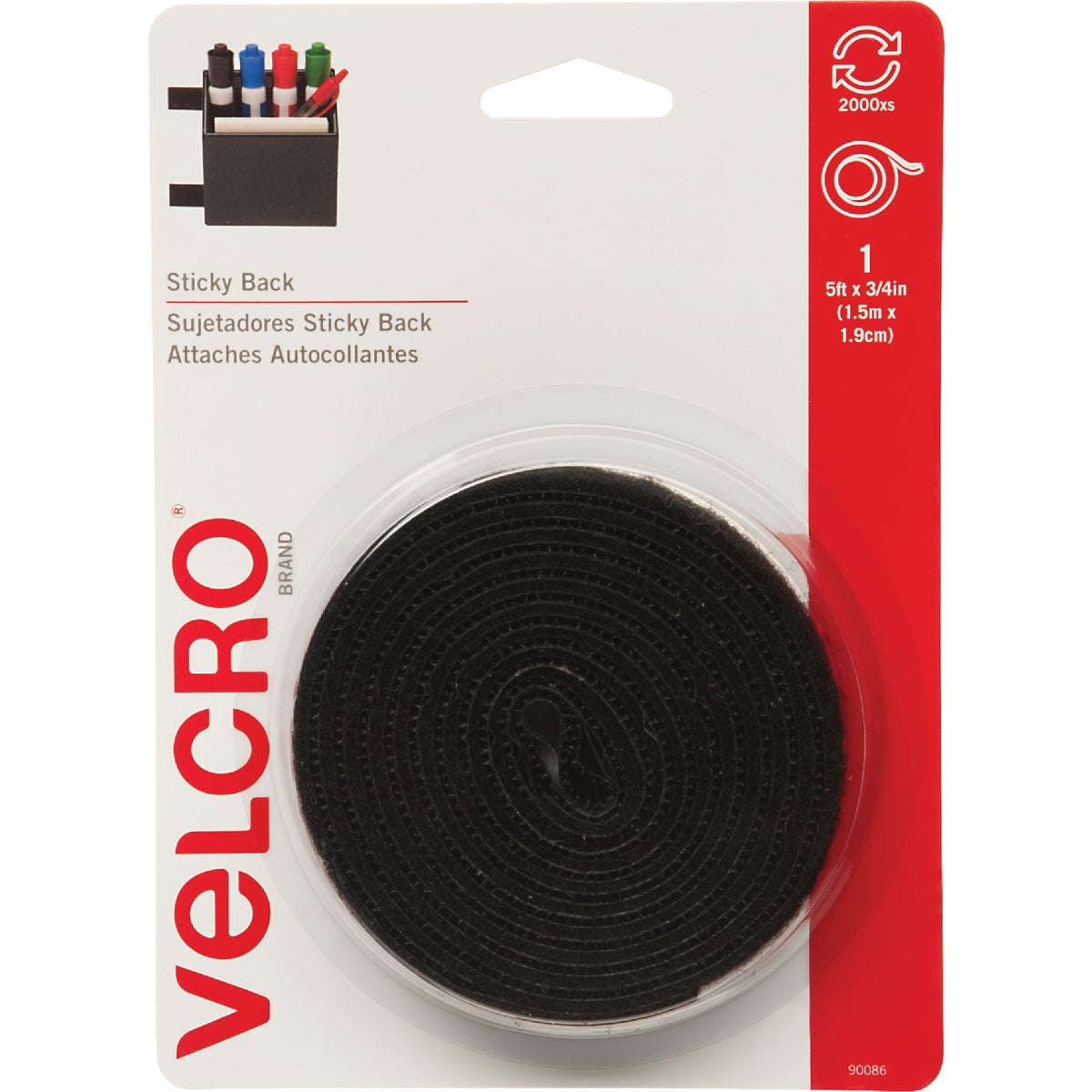 5' BLK ADHESIVE FASTENER - 90086 by Velcro Usa