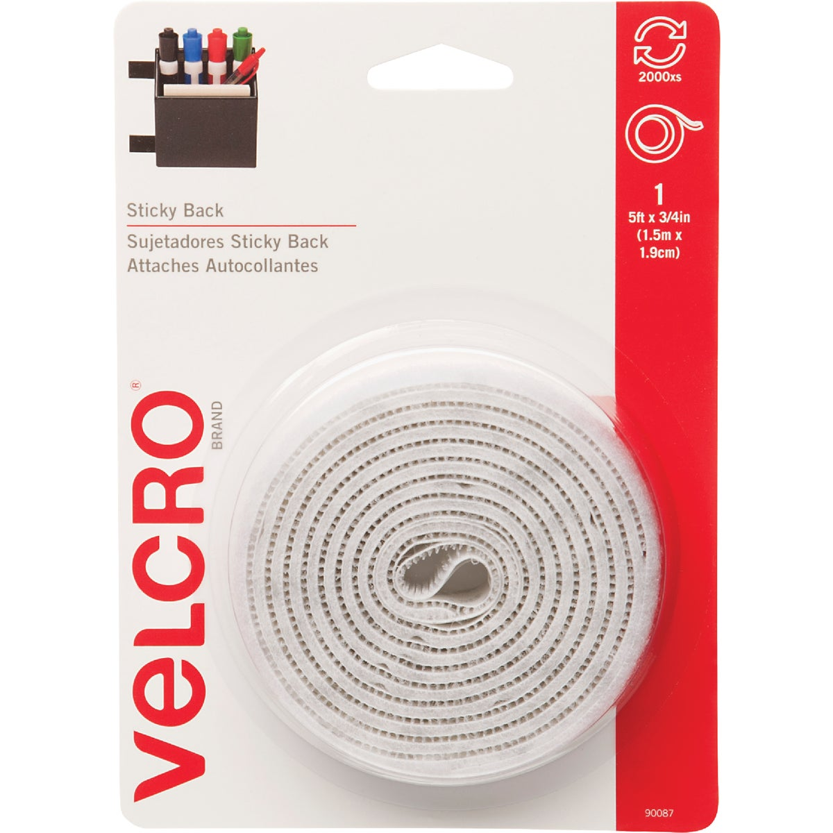 5' WHT ADHESIVE FASTENER - 90087 by Velcro Usa