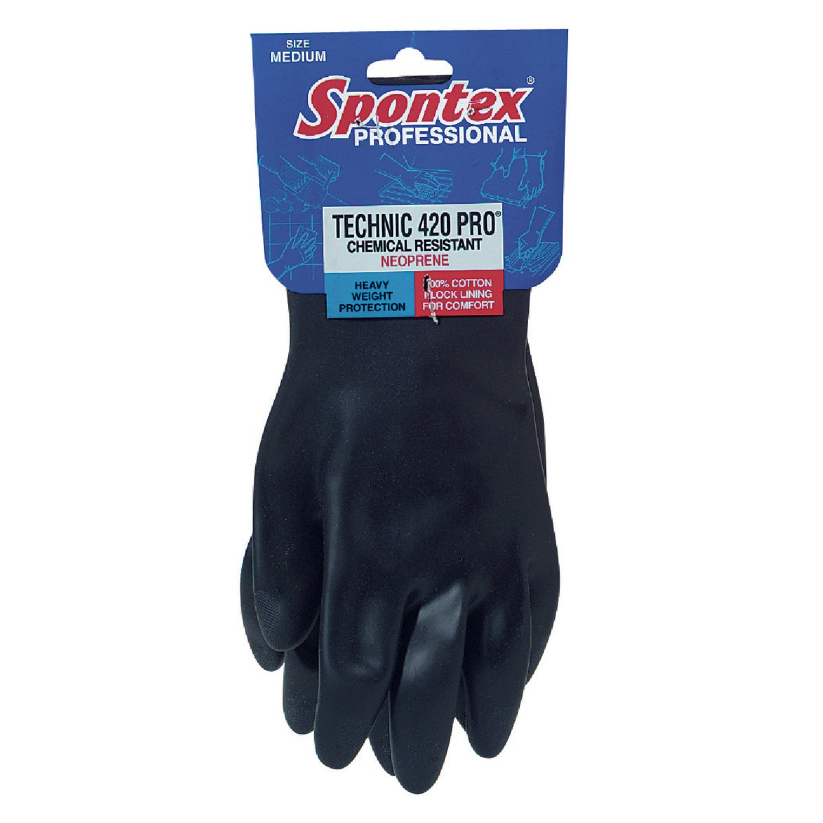 MEDIUM RUBBER GLOVES - 33545 by Lehigh Spontex