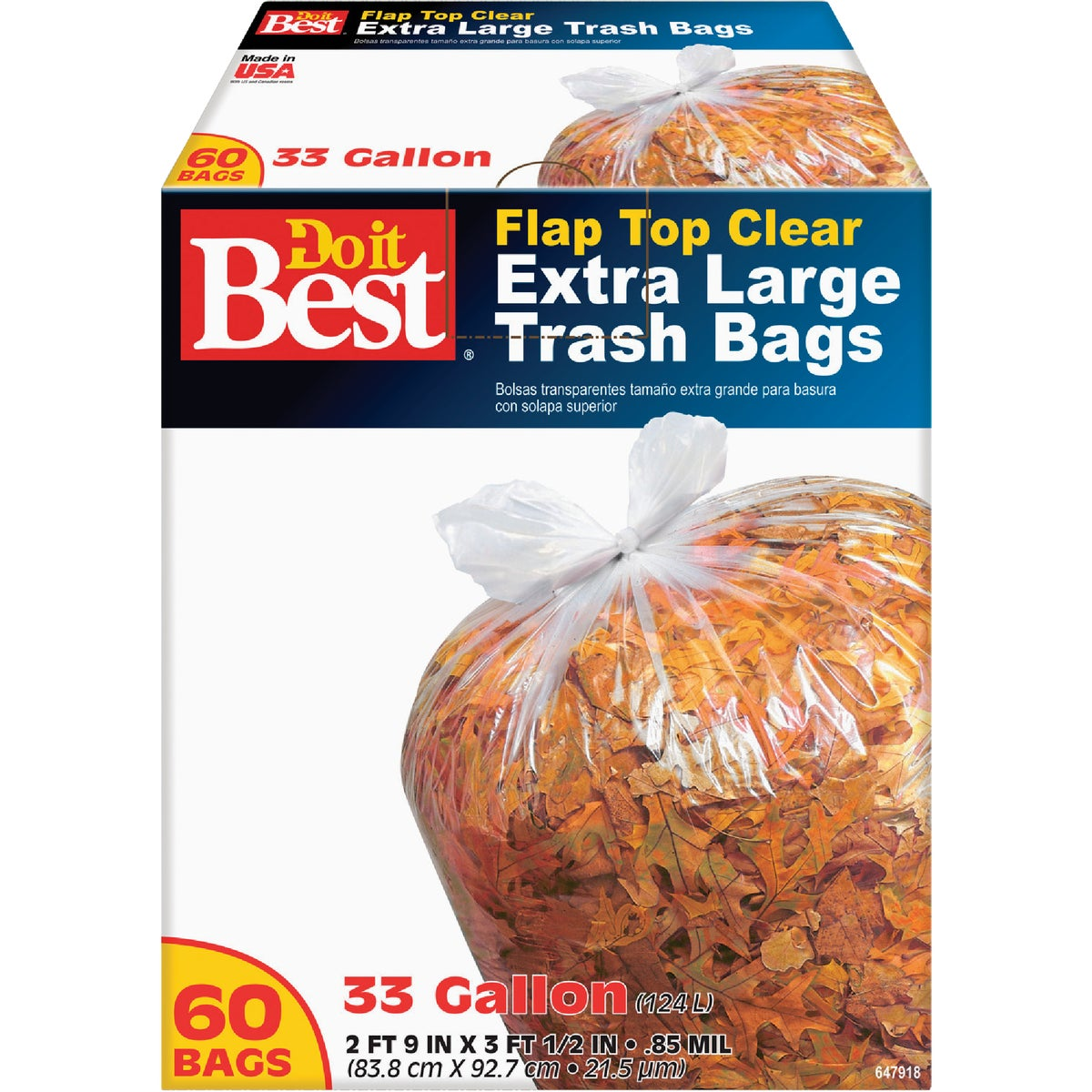 33GAL/60CT TRASH BAGS - 647918 by Presto Products