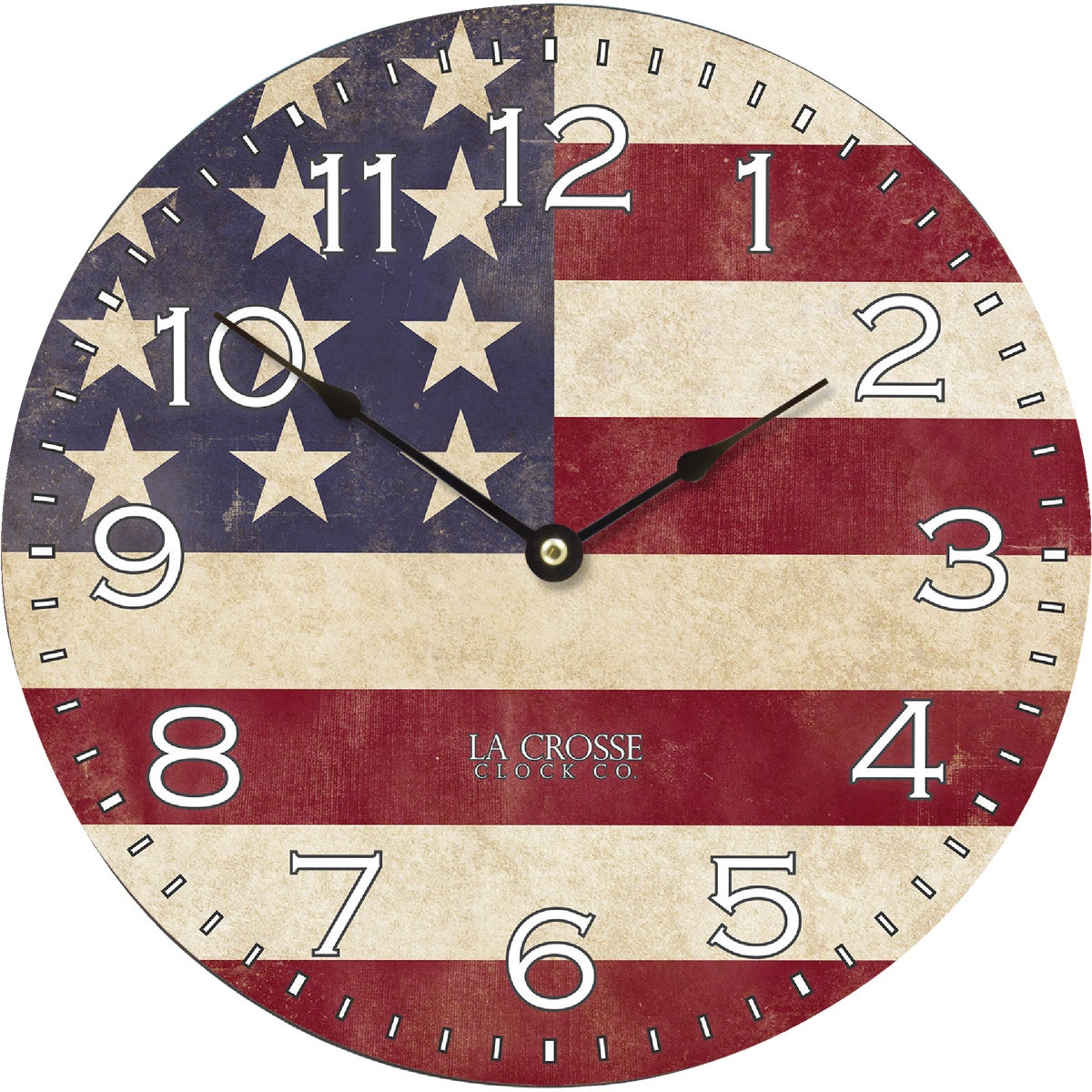 "12"" US FLAG WALL CLOCK - 4385G by Geneva Clock Company"