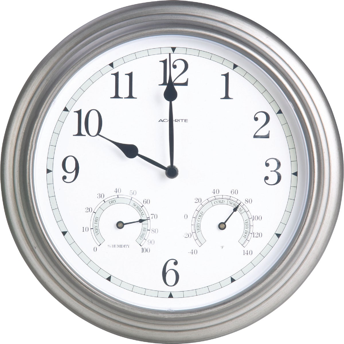 PEWTER THERM/CLOCK