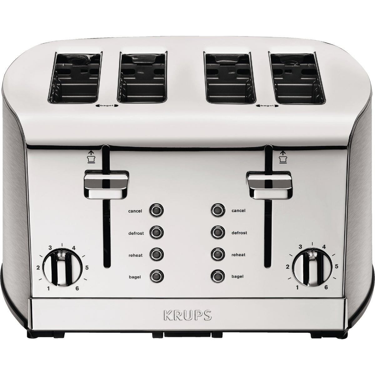 KRUPS KH734D Breakfast Set Toaster with Brushed and Chrome Stainless Steel Ho...