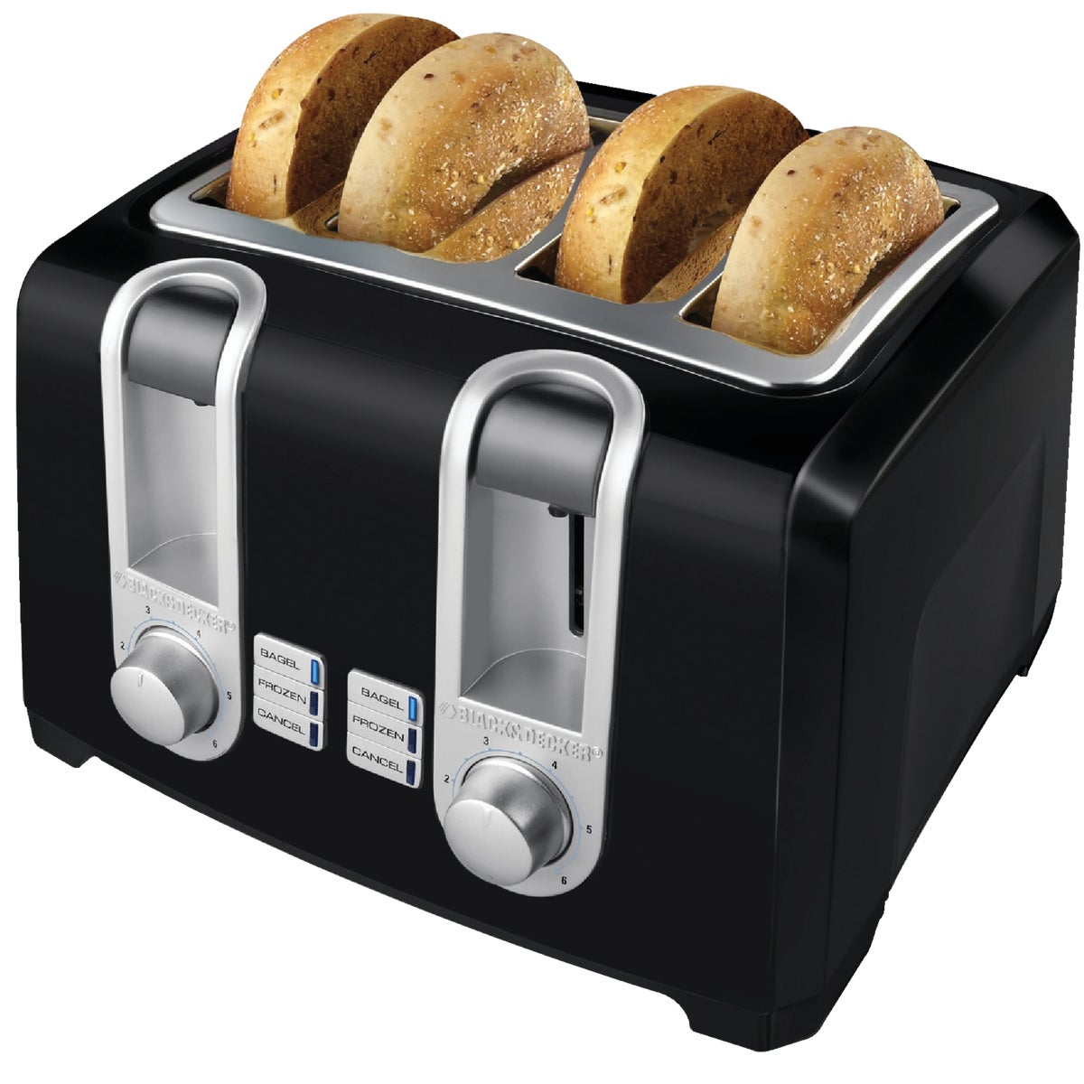 4-SLICE BLK/CHRM TOASTER