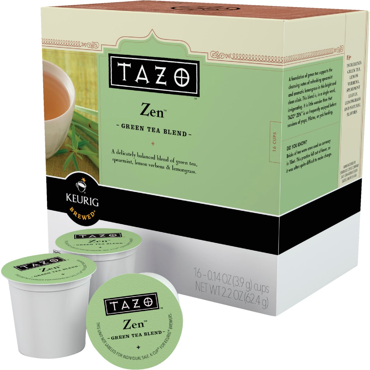 16CT TAZO ZEN TEA K-CUP - 10519 by Keurig     M Block