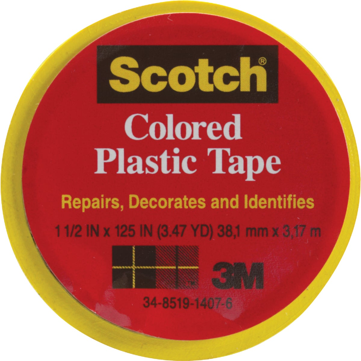 "SCOTCH 1-1/2""YLW PL TAPE"