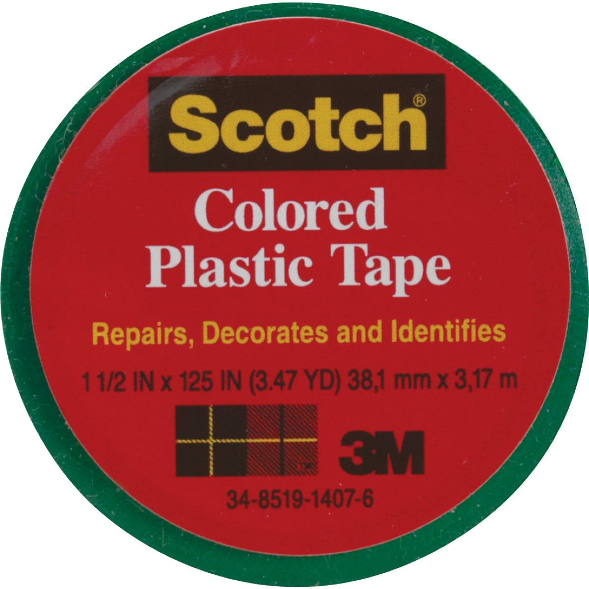 "SCOTCH 1-1/2""GRN PL TAPE - 191 by 3m Co"