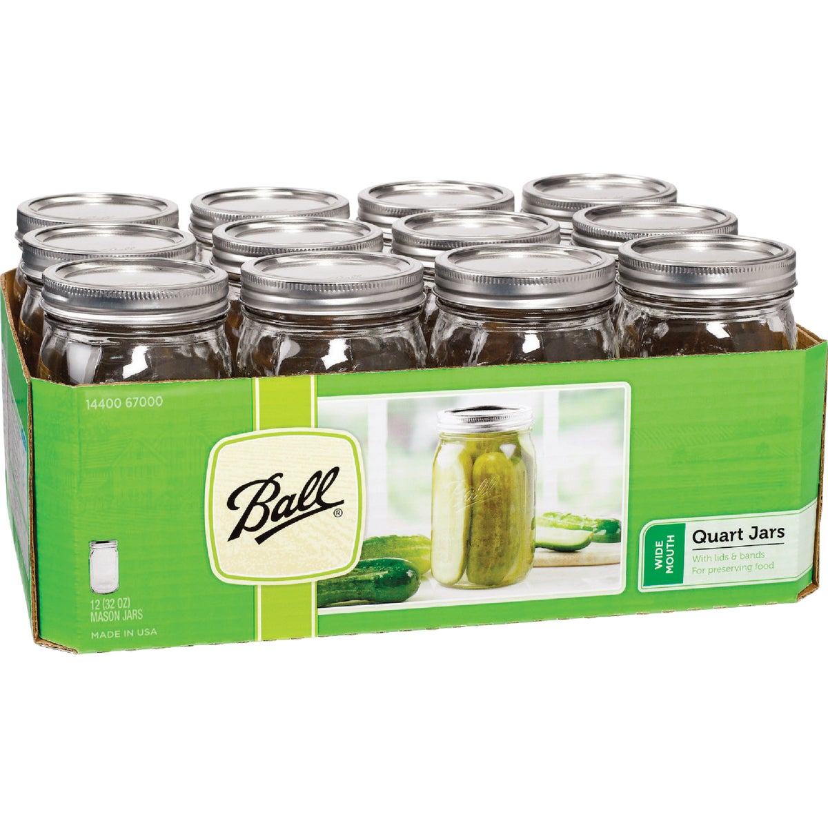 12 1QT W/M MASON JARS - 67000 by Jarden Home Brands