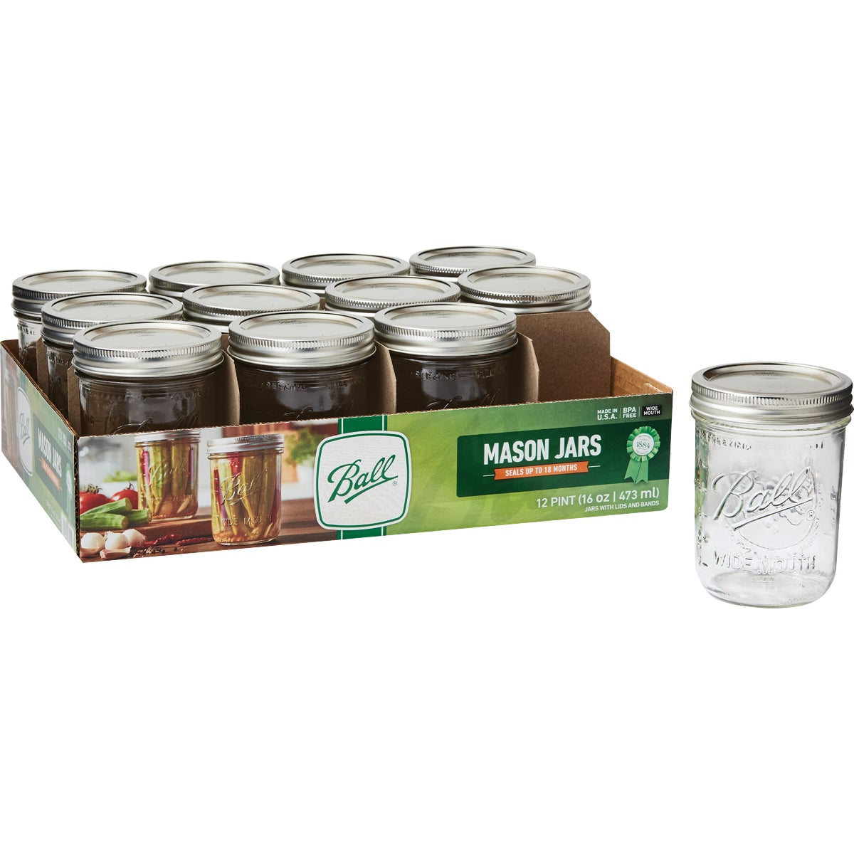 PINT 12CT W/M MASON JAR - 66000 by Jarden Home Brands