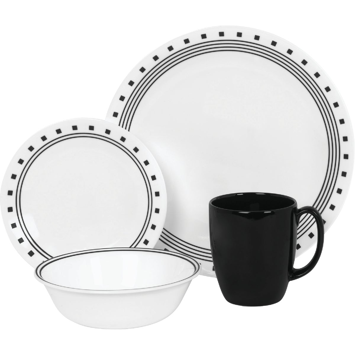 16PC CITY BLK DINNERWARE - 1074208 by World Kitchen