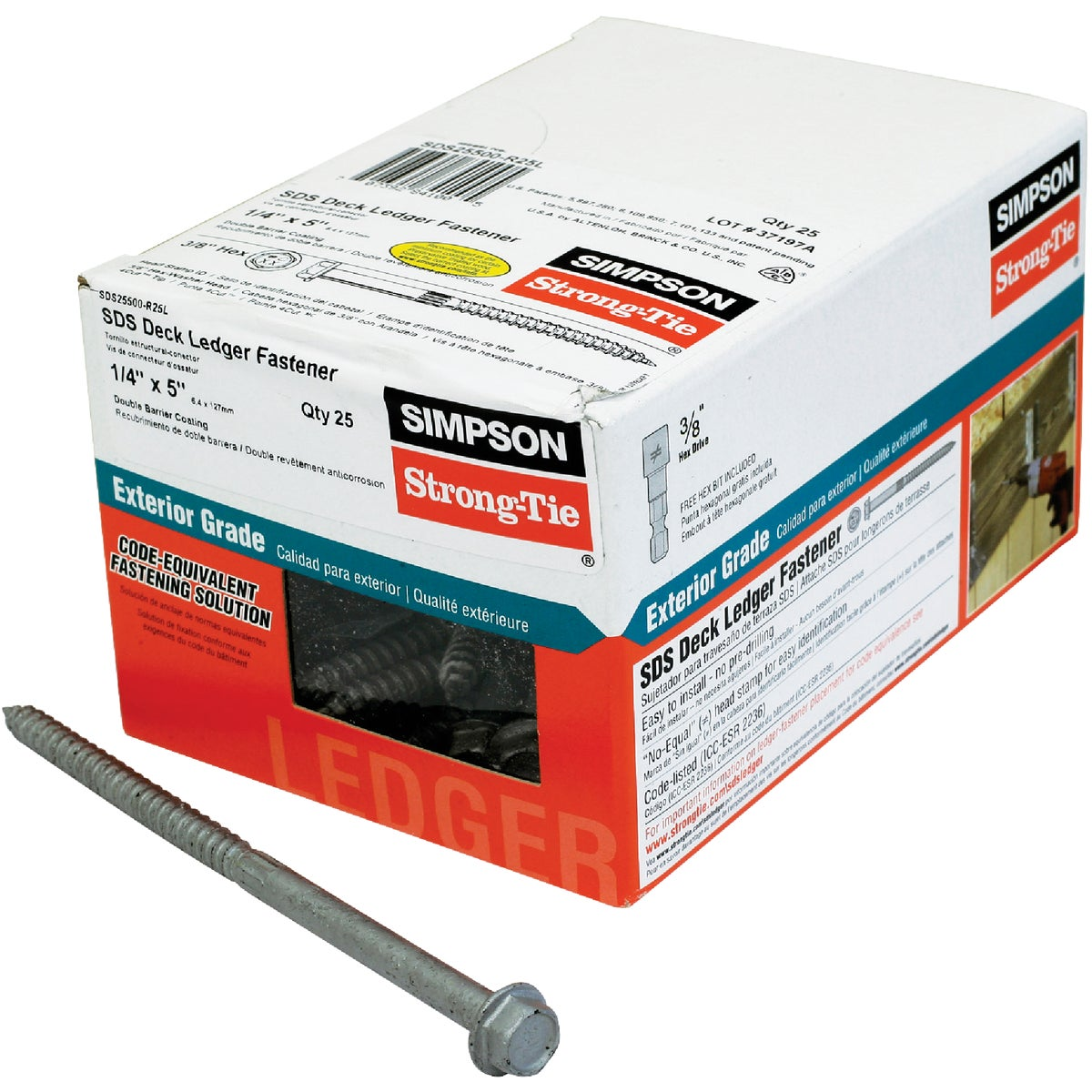 25PC 1/4X5 WOOD SCREW - SDS25500-R25L by Simpson Strong Tie