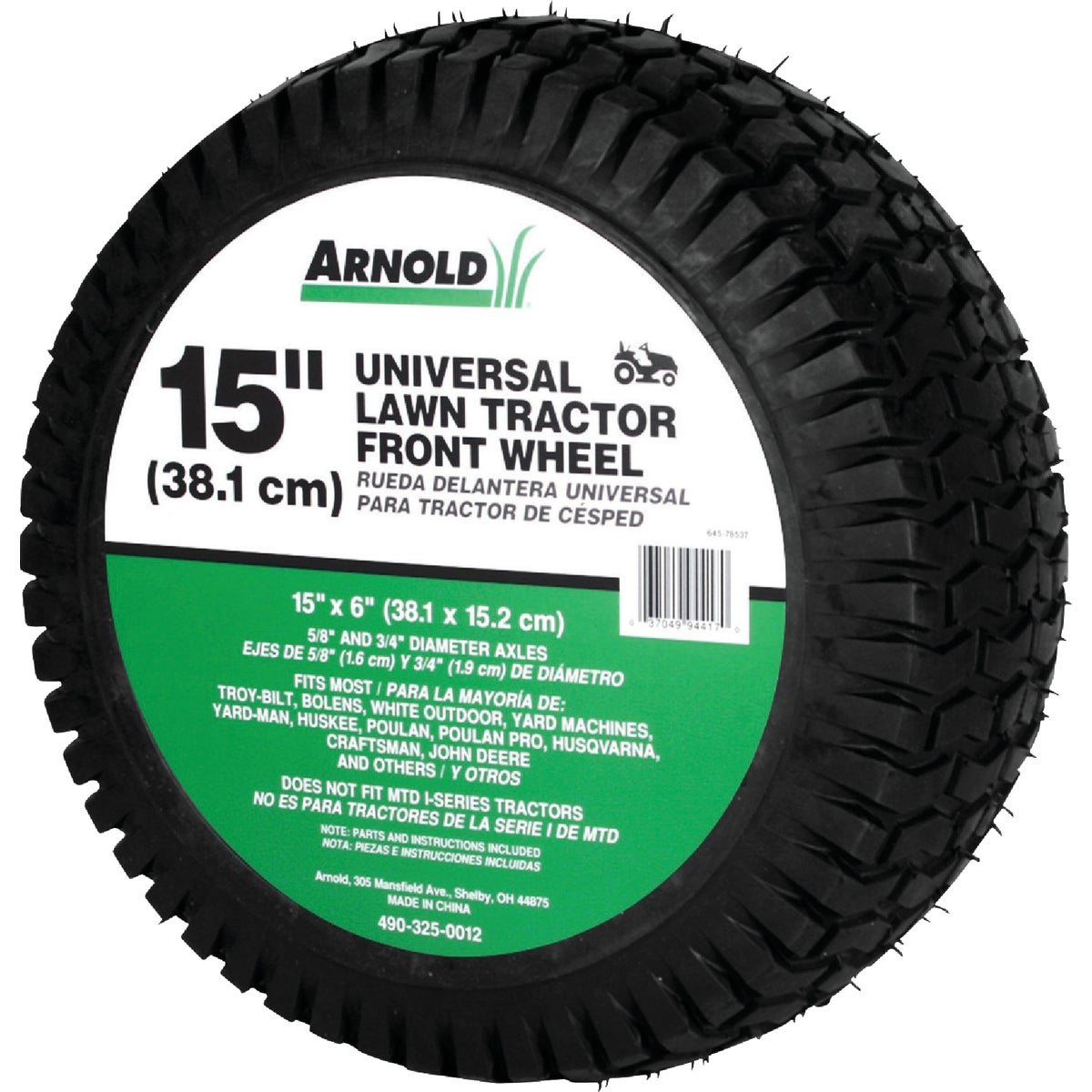 "15"" LAWN TRACTOR WHEEL - 490-325-0012 by Arnold Corp"