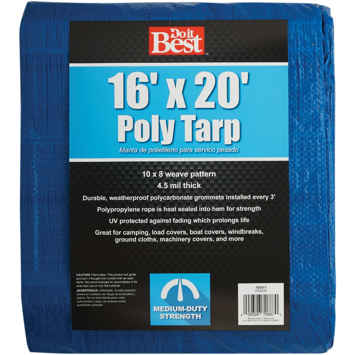 16X20 BLUE MED DUTY TARP