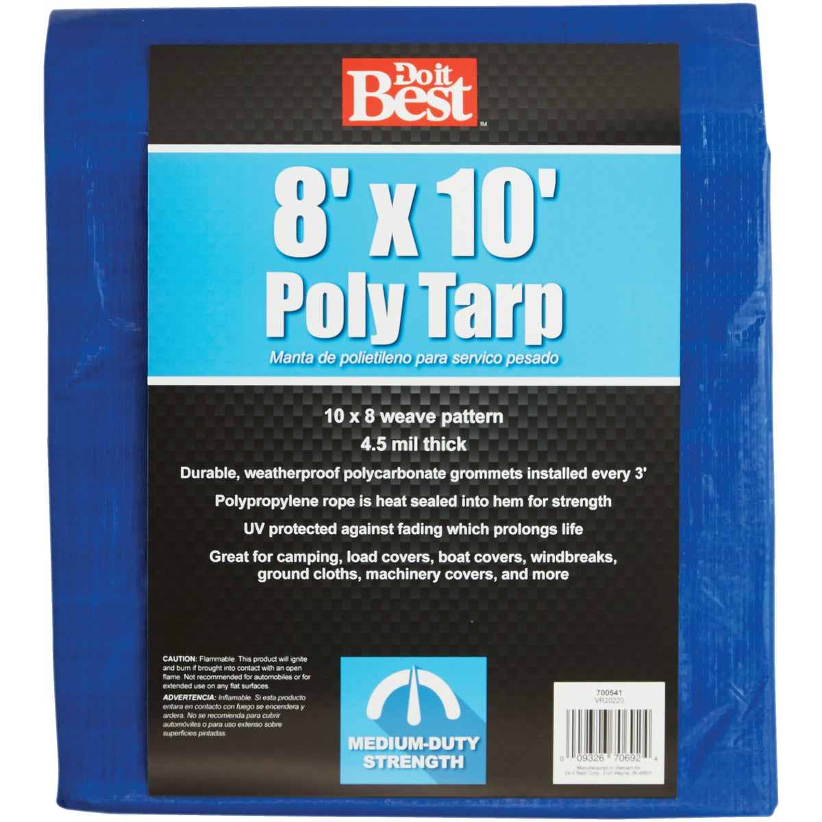 8X10 BLUE MED DUTY TARP