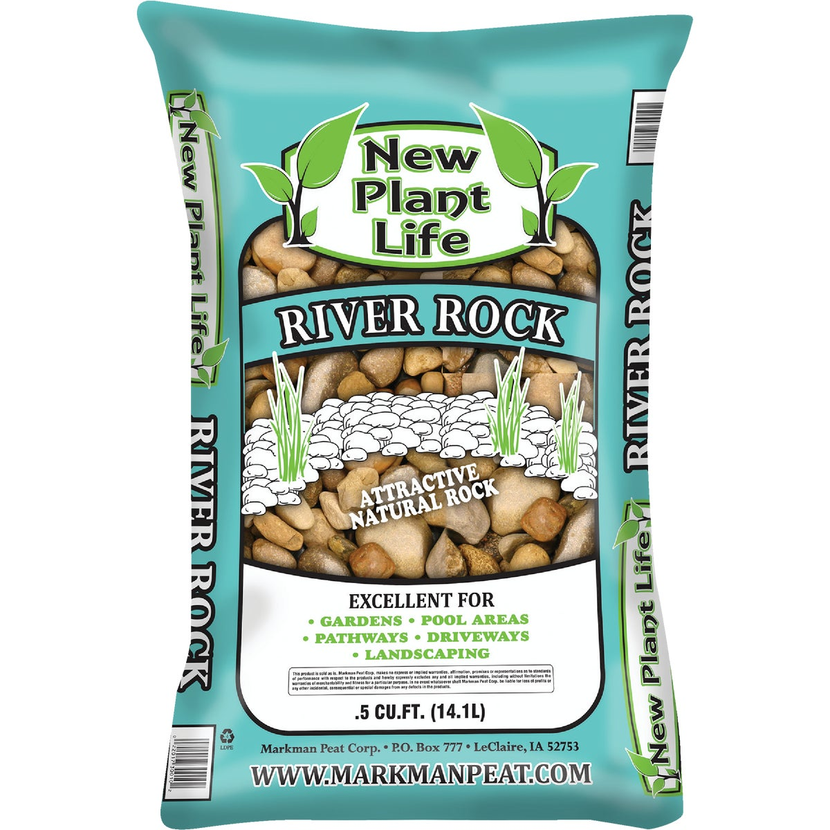 ".5CF 1""-1.5"" RIVER ROCK - 384 by Markman Peat Corp"
