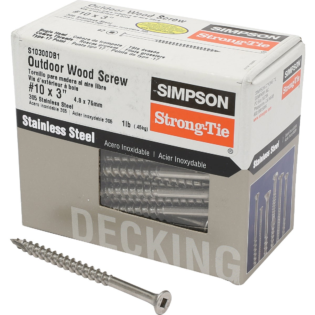 1LB SS 10X3 DECK SCREW - S10300DB1 by Simpson Strong Tie