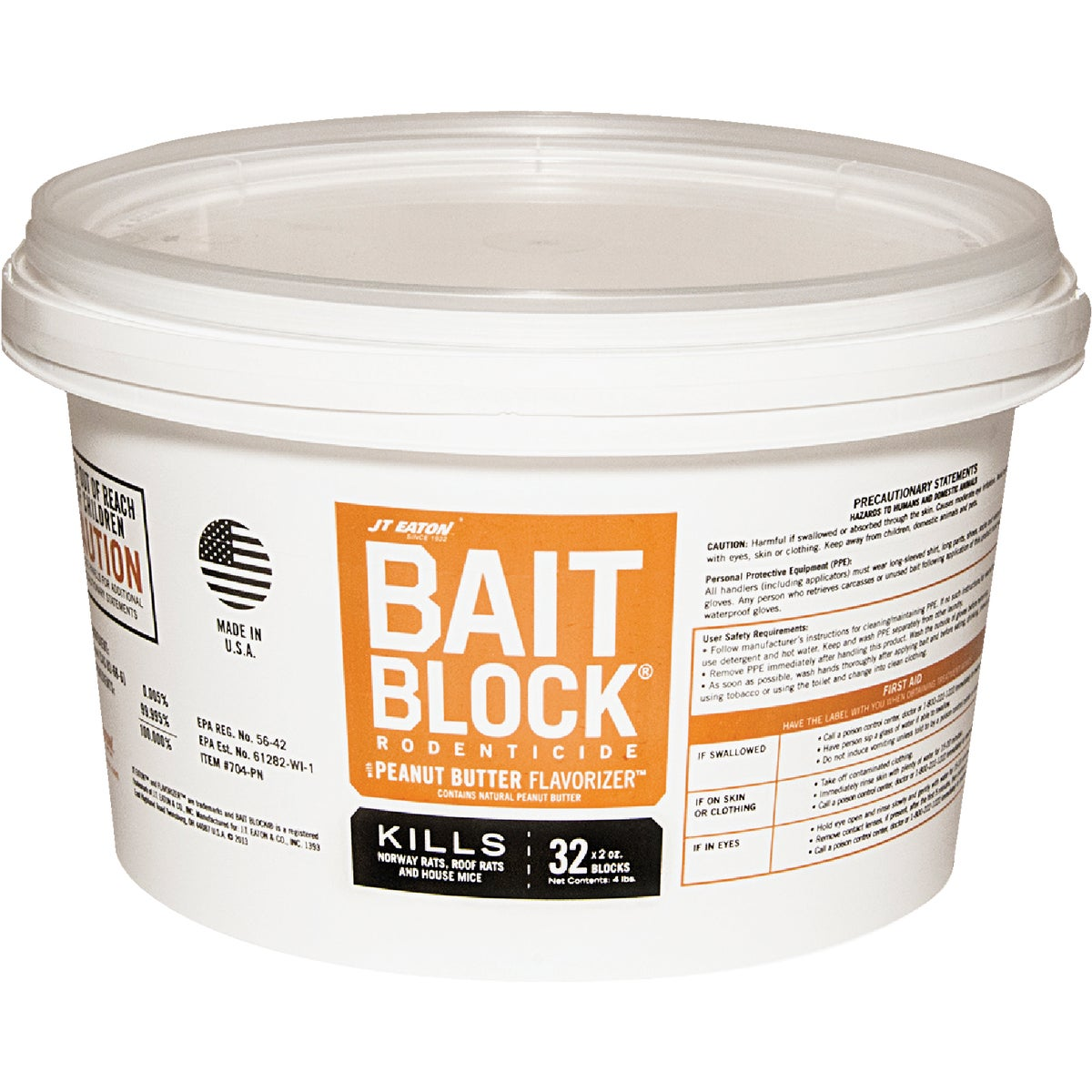 4LB PB BAIT BLOCK PAIL - 704-PN by Jt Eaton & Co