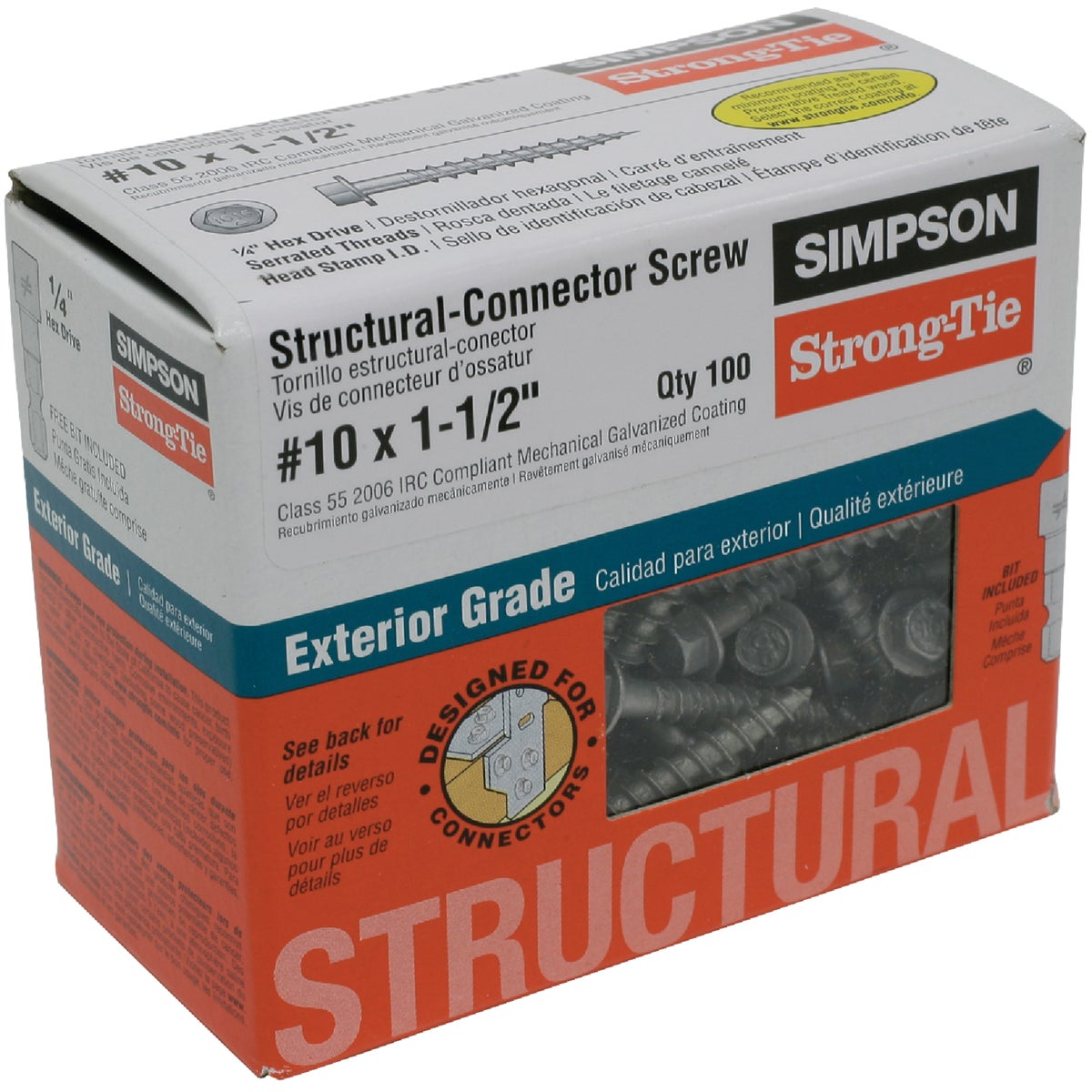 100 #10X1-1/2 WD SCREW - SD10112R100 by Simpson Strong Tie
