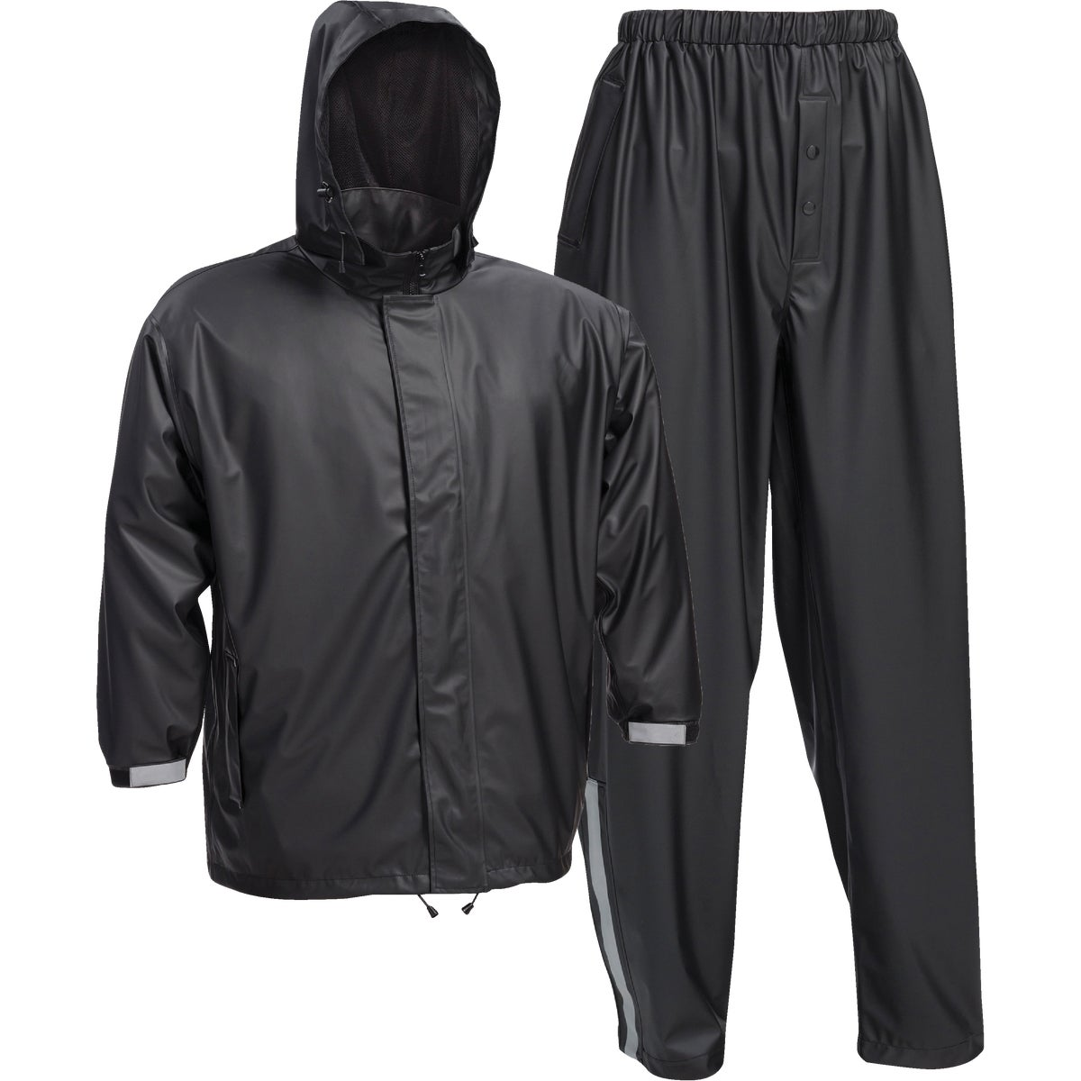 XL BLK NYLON RAINSUIT