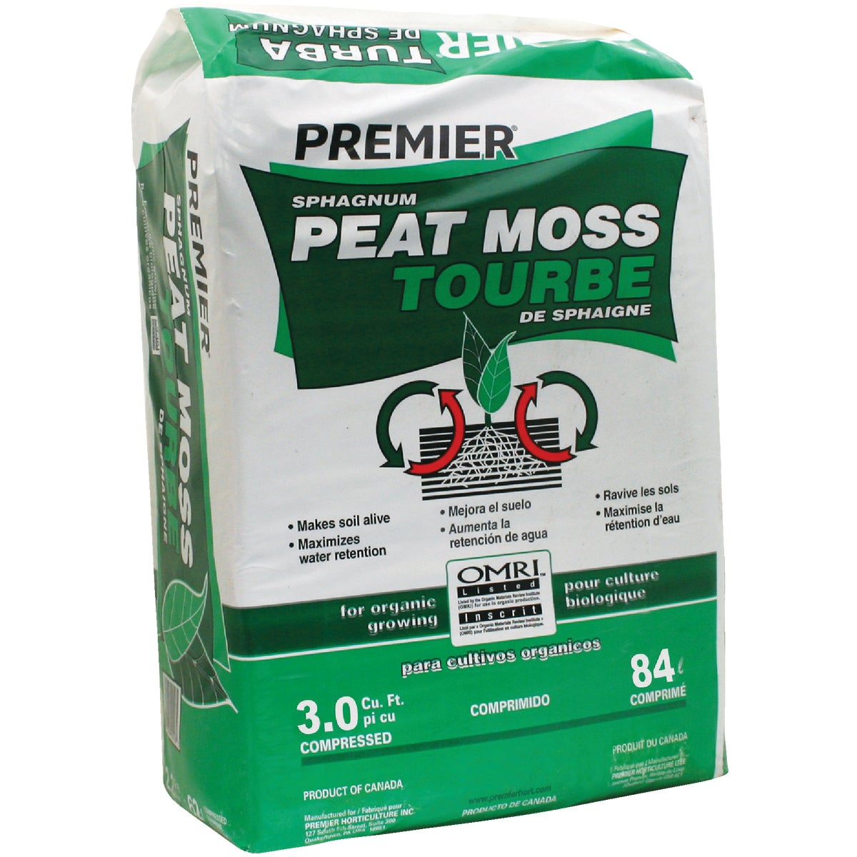 3.0CU FT SPHAG PEAT MOSS - 0092P by Premier Horticulture