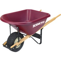 Scenic Road Single Wheel Tradesmen Duty Poly Wheelbarrow, M6-1T
