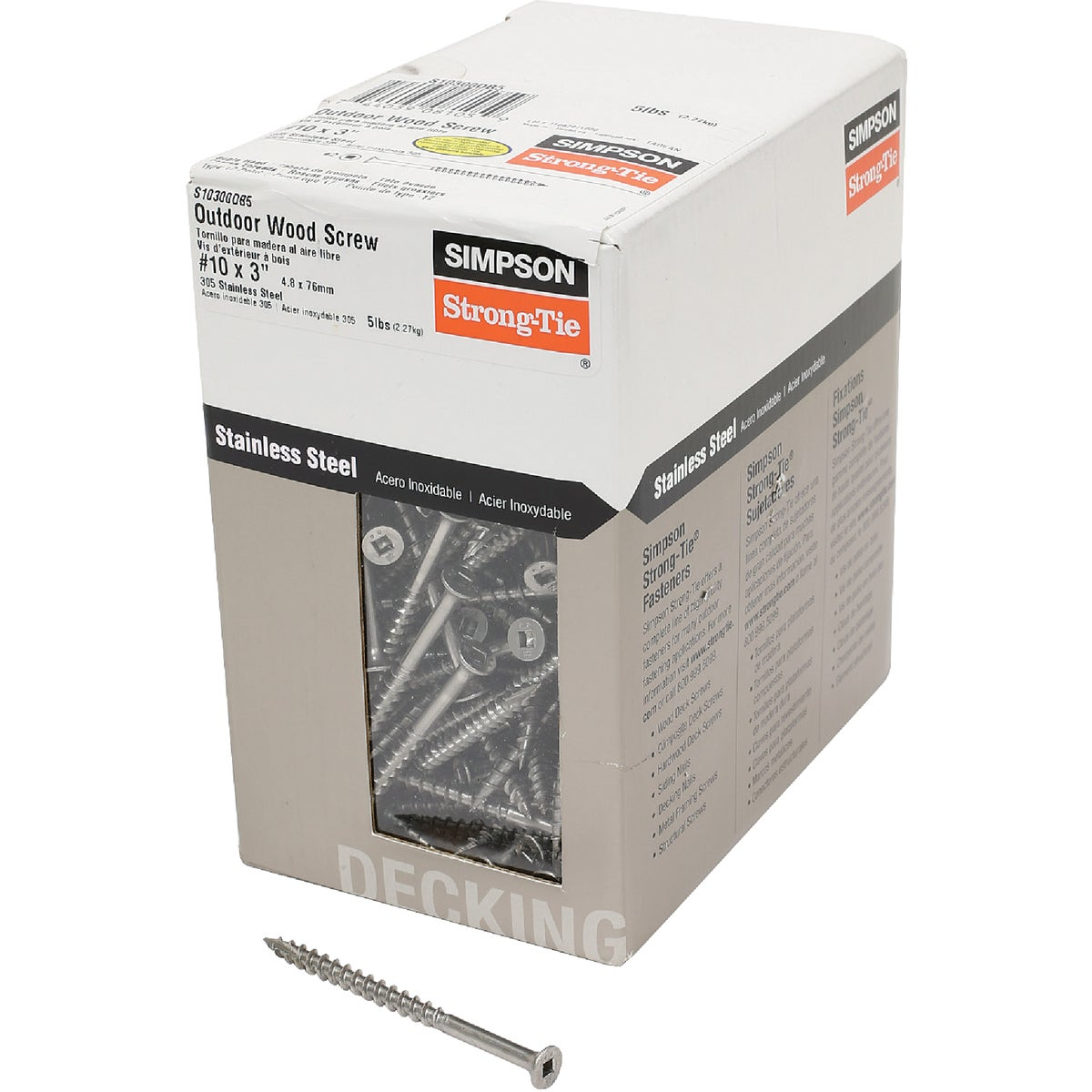 5LB SS 10X3 DECK SCREW - S10300DB5 by Simpson Strong Tie