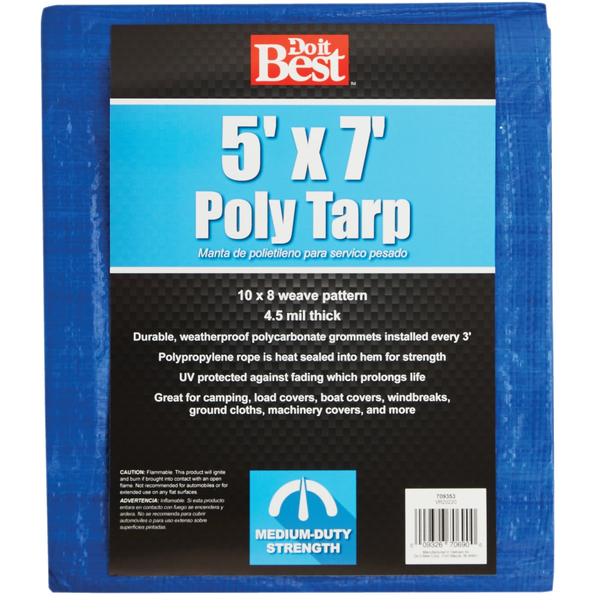 5X7 BLUE MED DUTY TARP