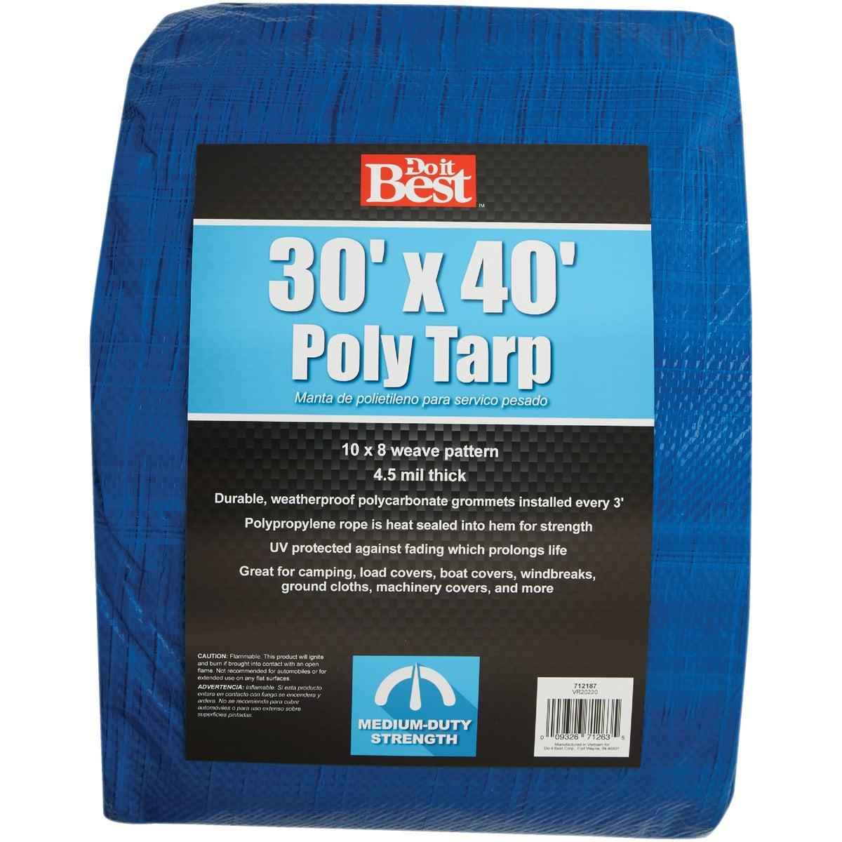 30X40 BLUE MED DUTY TARP
