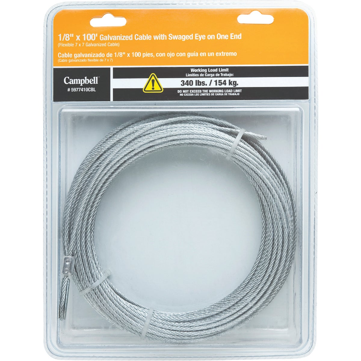 "1/8""X100' GALV CABLE - 5977410CBL by Cooper Campbell Apex"