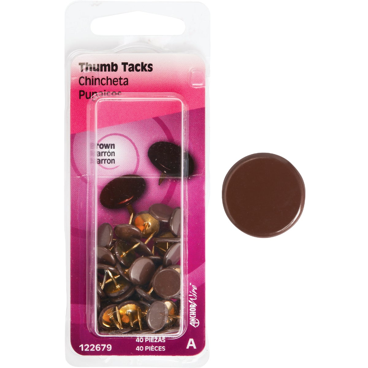 40PC BROWN THUMB TACK - 122679 by Hillman Fastener
