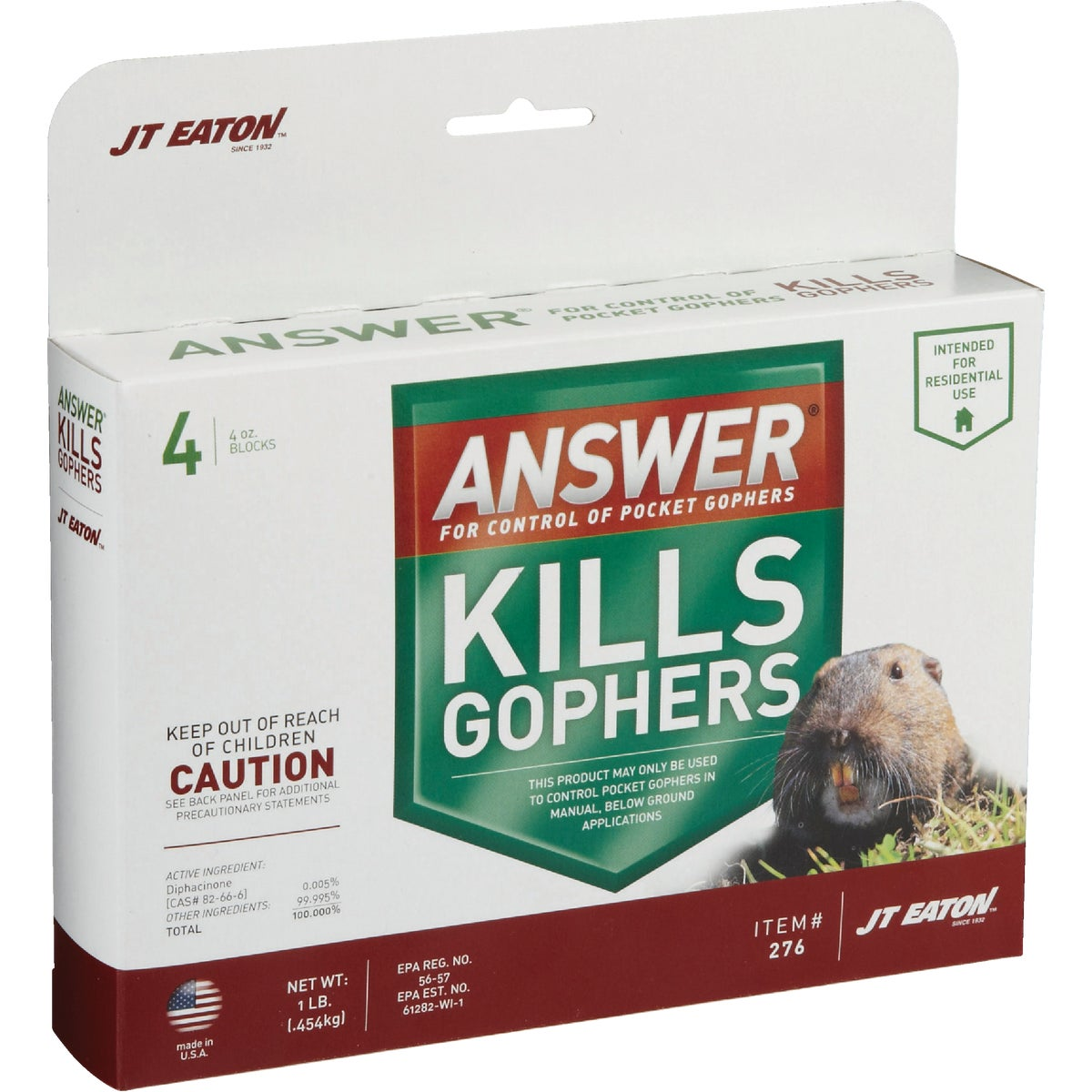 1LB GOPHER CONTROL - 276 by Jt Eaton & Co