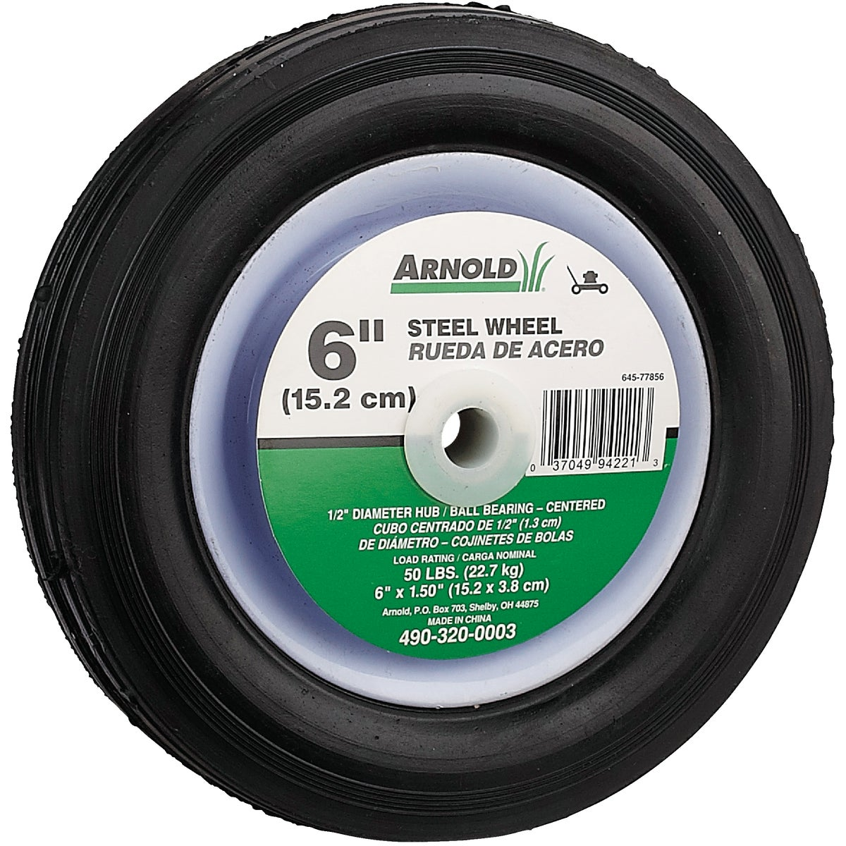 6X1.5 STEEL CNTR WHEEL - 490-320-0003 by Arnold Corp