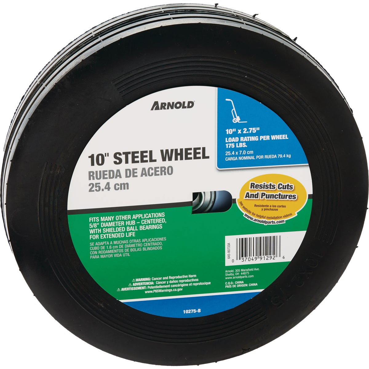 10X1.75 CNTR STEEL WHEEL - 490-323-0001 by Arnold Corp