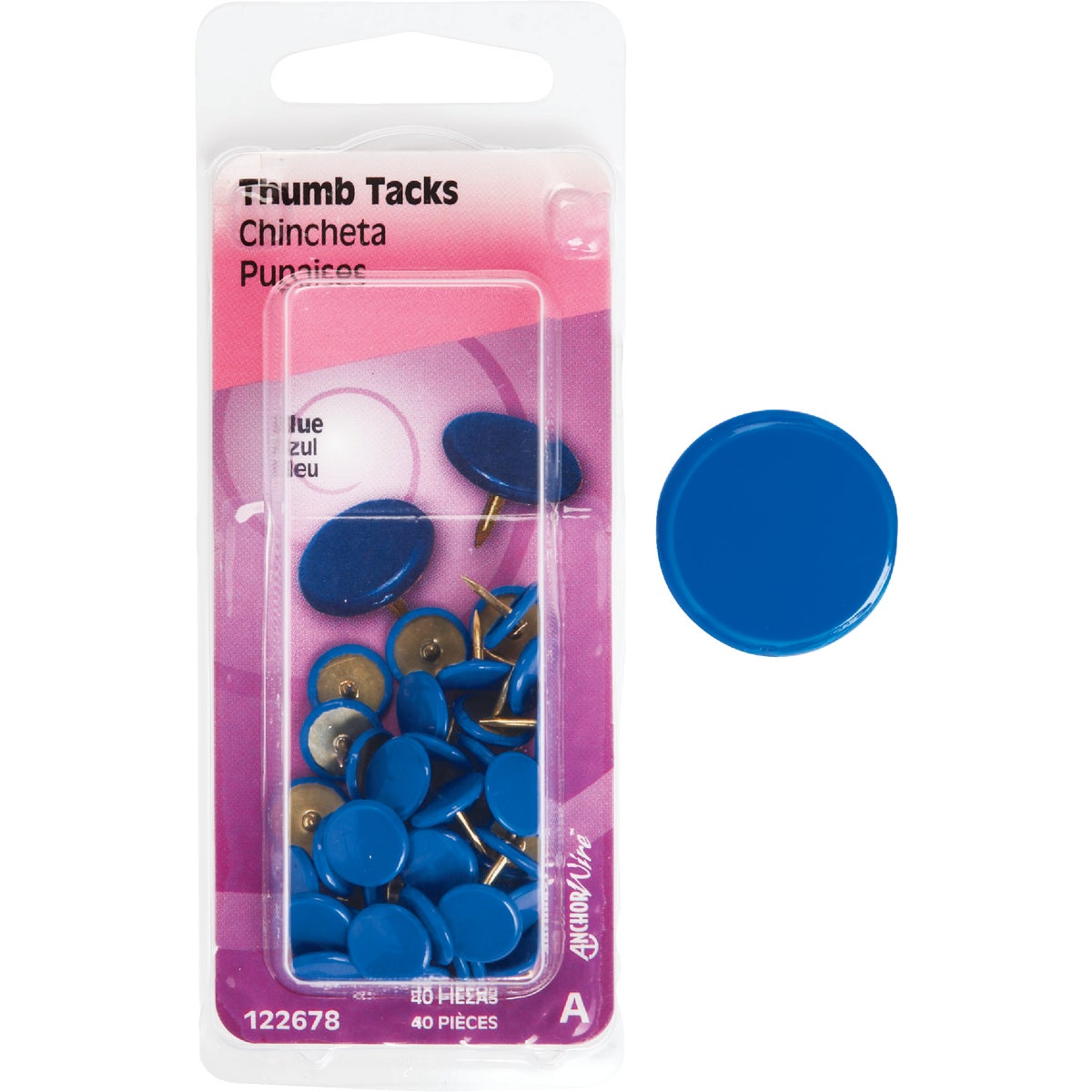 40PC BLUE THUMB TACK - 122678 by Hillman Fastener